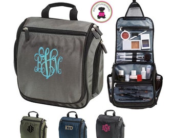 Monogrammed Deluxe Hanging Cosmetic / Toiletry Bag - FREE SHIPPING