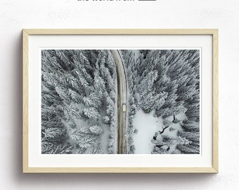 Framed Snow Aerial Photography, Abstract Large Wall Art Decor, Colour Fine Art Photography, Art Prints, Skiing, Snow, White, Monochrome