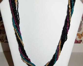 Seed Bead Torsade Necklace - Black, Magenta, Turquoise, Gold