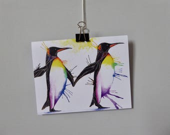 Penguins Holding Flippers Greetings Card