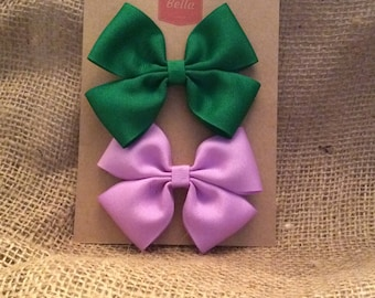 Two 3-inch Hair Bows - 1 Green, 1 Lavender