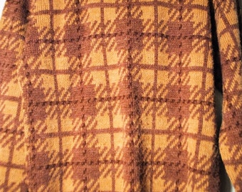 Collared Brown Plaid Sweater