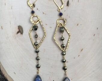 Pyrite and Lapis Lazuli Gold Filled Earrings, Gemstone Chandelier Earrings, Blue and Gold Earrings, Hypoallergenic, Kensta Jewelry