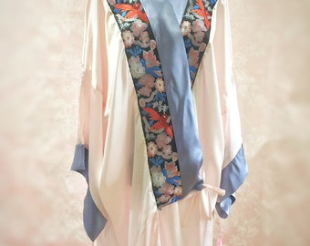 The Mable Rose- Art deco, 1920's, pink, blue, silk, kimono, dressing gown, robe, vintage, flapper, burlesque, wedding, costume, bridial