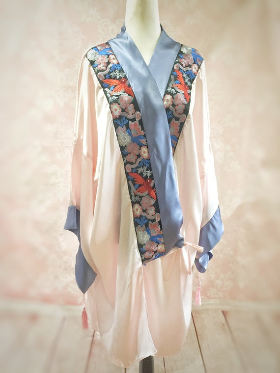 Vintage Inspired Nightgowns, Robes, Pajamas, Baby Dolls The Mable Rose- Art deco 1920s pink blue silk kimono dressing gown robe vintage flapper burlesque wedding costume bridial $194.05 AT vintagedancer.com