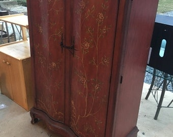 Hand Painted Floral Motif Solid Wood Armour, Curved Wood Mid Century Dresser, Asian Furniture, Entertainment Center, Asian Decor, Elegant