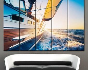 Sea Wall Decor, YACHT Canvas, sailing yacht, canvas wall decor, Yacht in the sea, Morning on a yacht, Yacht painting, Sail on a yacht