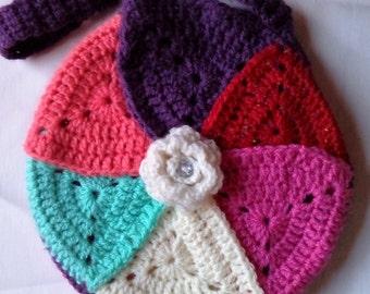 Crochet  Granny Triangles Handbag