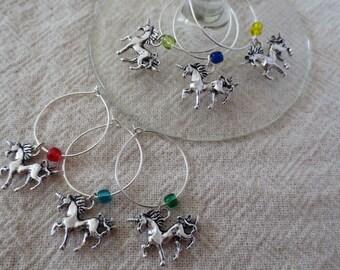 Unicorn wine charms - set of 6