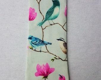 Perched Bird Neckties, Blue Necktie, Baby Blue Necktie, Cherry Blossoms, Songbirds, Bird Necktie