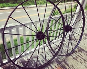 4'6 18th Century Wrought Iron Wagon Wheels