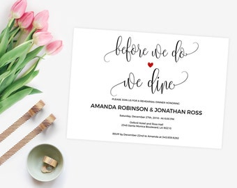 Rehearsal Dinner Invitation - Before We Do We Dine Invitation - Editable wedding invitations - Downloadable wedding invitations #WDH0079