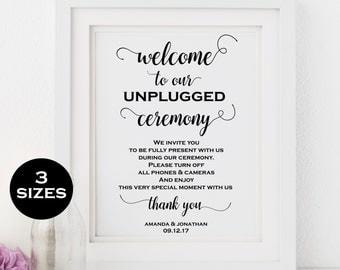 Unplugged wedding sign - Unplugged ceremony sign - Wedding sign printable - Wedding signage DIY -  Downloadable Wedding #WDH101_29