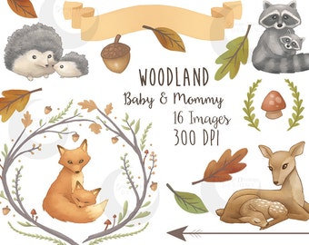 Woodland Clipart Mommy & Baby Forest Animals Cute Nature Watercolor Set - Commercial Use
