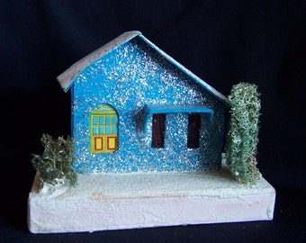 Vintage Putz House, Turquoise Christmas House Decoration with Sponge Trees