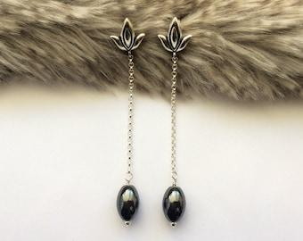 Drop Earrings, Bridesmaid Earrings, Hematite Earrings, Gemstone Earrings, Long Earrings, Dangle Earrings, Birthday Gift, Gift for Her