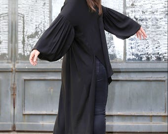 Black Shirt Dress, Black Tunic Dress, Plus Size Shirt, Long Sleeve Shirt, Asymmetrical Tunic, Vampire Top, Gothic Top, Designer Shirt