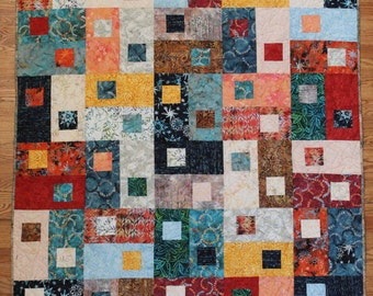 Large Baby/Throw/Youth – Next Move in Batik, HANDMADE, multi-color, 54in x 65in, blocks, multi color