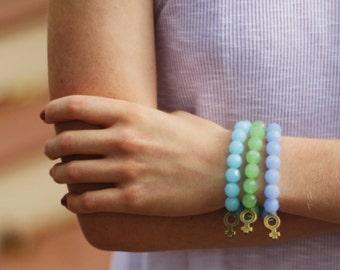 Beaded Bracelet with Venus Women's Symbol Charm