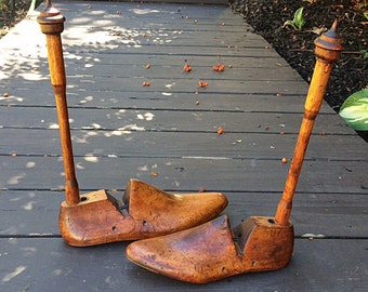 Vintage Cobbler Wooden Shoe Molds, Forms, Lasts Industrial Decor - Set of 2