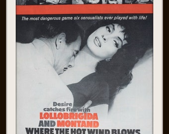 1960 Where The Hot Wind Blows Movie ad. Vintage Gina Lollobrigida. Vintage movie ad. Vintage Esquire ad. Vintage film ad.