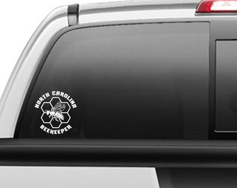 "Vinyl Decal of Honey Bee, Honey Comb and ""YOUR"" state name"