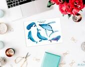 Sticker Set mit Wal Motiven / Whale Sticker