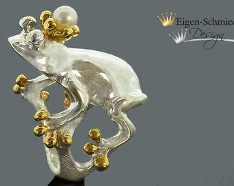 """Frogring, """"Frogking Karlchen"""" in 925 Sterling Silver with a partial gold-plating"""