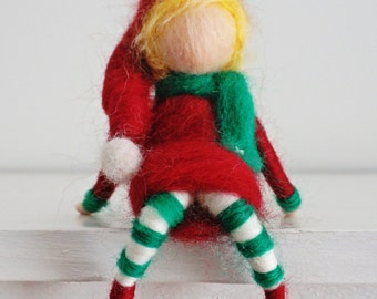 Waldorf inspired needle felted Christmas elf