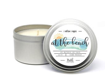 Candles in Tin. Beach Scented Candle. Soy Candles Handmade. Ocean Fragrance. Scented Soy Candles. Beachy Candle. Beach Wedding Party Favors.