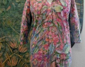 """1 long-Pullower dress """"Delicate bouquet"""", unique"""