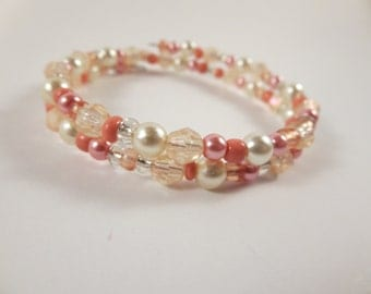 Salmon and White Memory Wire Bracelet / Beaded Bracelet / Wrap Bracelet / Women's Bracelet / Bridesmaid Bracelet / Wire Wrapped Bracelet