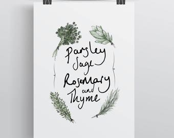 Parsley, Sage, Rosemary and Thyme hand illustrated print, Wall Art. Gift. Home Decor. Herb Garden. Kitchen