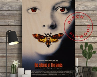 The Silence Of The Lambs - Movie Poster on Wood, Jodie Foster, Anthony Hopkins, Print on Wood, Minimalist Poster, Classic Movies, Wall Decor