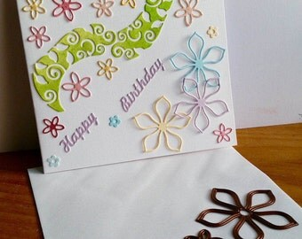 A square white birthday card,handmade,handcrafted,embellished.