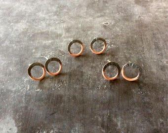 Tiny split personality earrings in copper,copper split personality earrings,half oxidized circle earrings,tiny circle earrings,copper studs