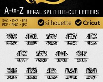 Regal SPLIT FONT svg Monogram letters svg Silhouette dxf cuttable alphabet Cricut download vinyl Royal initials svg Cameo, Studio Cut Files
