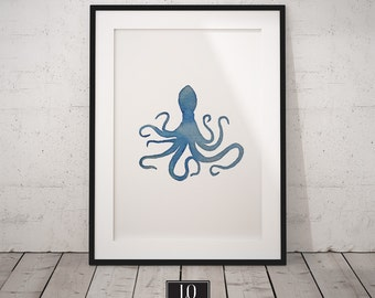 Octopus Watercolor Print,  Blue Art Decor, Digital Download