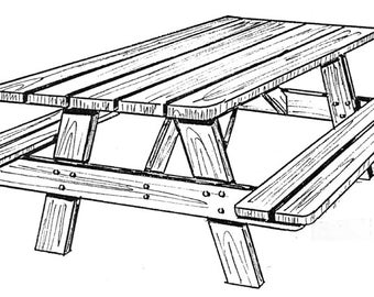 Picnic One (table & benches)  #162 -  Woodworking / Craft Patterns.