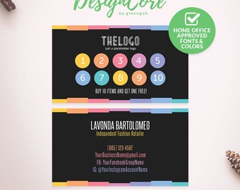 Punch Card, Reward Card, Home Office Approved, Personalized, Colors on Black, Digital Files, Marketing, Dark, Fashion Consultant, DCPLC002