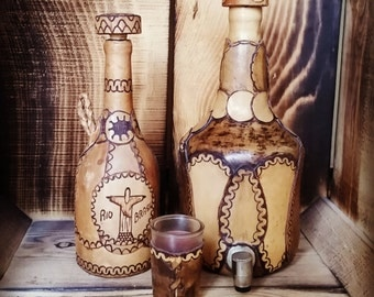 Leather Wrapped Wine/Cachaca Bottles and Shotglass, Wine bottle, Brazil, Cachaca bottles, Leather wrapped
