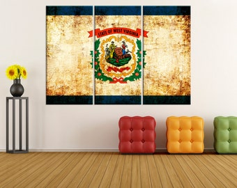 west virginia state flag canvas Print wall art, wrapped flag canvas print, extra large canvas art, west virginia flag wall art, 8s81