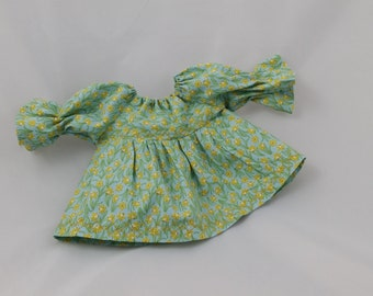 Doll's smock dress. Handmade, embroidered, daffodil fabric. Dressing up clothes, doll dressing up, CE marked, doll's dress, doll's top,