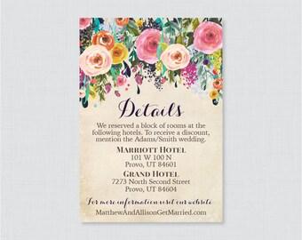 Printable OR Printed Wedding Details Cards - Floral Wedding Details Inserts - Colorful Flower Wedding Details Invitation Insert 0003-A