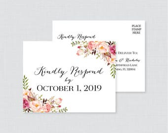 Printable OR Printed Wedding RSVP Postcards - Pink Floral RSVP Postcards - Rustic Flower Wedding Response Postcards, Invitation Insert 0004