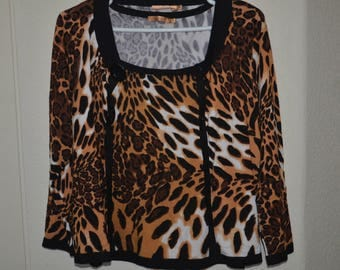 "20% off Womens Animal Print Sweater 2pc Set, Size Large, Sleeveless Leopard ""Belldini"" Top"