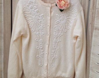 Stunning 50s cream heavily beaded wool wedding coat/ cardigan M-L