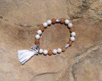 Autumn bird, Orange and White bracelet. Birthday. Gift for her