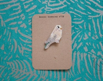 Brooch Germaine #28 // Parakeet // Beige // Miyuki beads // Bird // Gift for her