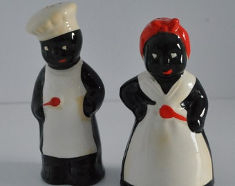 Vintage Black Americana Salt & Pepper Shakers Two Cooks in the Kitchen